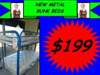 New Steel Bunk Beds for $199.  SITUATED IN OUR NEW