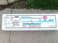 """NEW-IN-BOX MORA 8"""" ICE AUGER, ADJUSTABLE FROM 48"""" TO"""