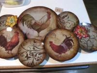 Brand new Pier 1 Imports Rooster Plates Wall Decor. The