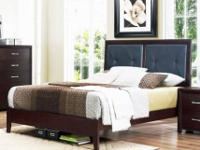 Black padded Queen Bed NEW Dark expresso finish ALL