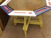 This is a very nice poker table. Nice vibrant colors.