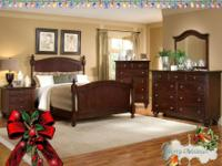 Fabulous queen size wood bedroom set styled after a set