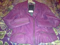 NEW PURPLE H-D LEATHER LADIES JACKET,TAGS ARE STILL