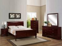 New queen or full size sleigh bed. Available in cherry