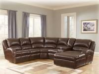 Bonded Leather Reclining Sectional Includes: Reclining
