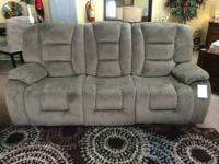 FOR SALE THIS DOUBLE RECLINING SOFA,WRAPPED IN A PLUSH