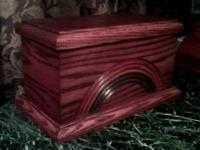 NEW Hand Crafted Pet Urn. Made from solid Red Oak with