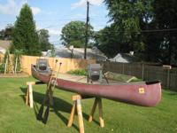 16' New River fiberglass canoe with finished wood
