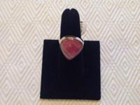 This size 7 Sterling silver Rough Cut Ruby ring
