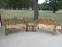Hand Crafted Log Benches,3 1/2ft With Removable Side