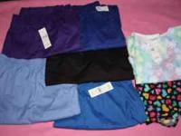I have 5 new scrub bottoms and 2 tops, All are size