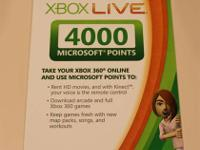For sale is one Brand New Sealed, Xbox Live 4000 Points