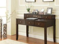 This tiered desk has a stunning walnut brown finish