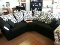 New white and black sectional sofa (exactly as received