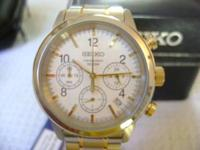New with Tags Seiko Chronograph Two Tone White Face
