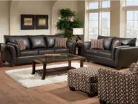 New Simmons® Designer Leather Living Room Set - Imagine