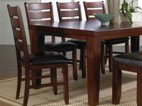 "Solid oak 42""x82"" (with 18"" leaf) table with four"