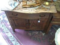 "Solid oak china cabinet with lighting. 72"" h, 54'' w,"