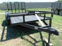 New 6x12 Tandem Axle Trailer W/Ramp Gate. Black,