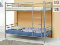 Contemporary metal twin/twin bunk bed with supports.