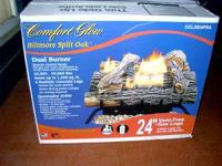 "NEW COMFORT GLOW VENTLESS 24"" DUAL BURNER GAS LOG"