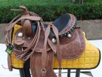 "NEW 15"" WESTERN BARREL SADDLE , WITH A"