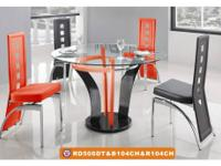Table & 4 Chairs Color: White Material: Glass / Glossy