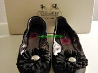 New Coach ARIZA Nubuck Leather Ballet FLATS, Black,
