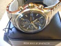 New with Tags Seiko Chronograph Two Tone BLUE Face