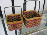 For Sale : New ! Pair of Wooden Baskets . The Bigger