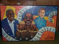 4' x 5' oil paintings of jazz singers and musicians,