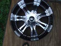 "New in box 22"" Black and chrome finish wheels (not"
