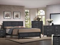 Beautiful Slate style low profile bed with brushed