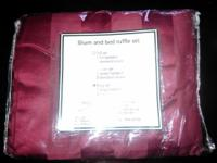 New king size set bedskirt and two shams burgundy color