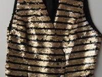 New, ladies gold & black button front designer vest by