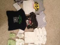 I have 41 pieces of baby boy clothes and a wipe warmer.