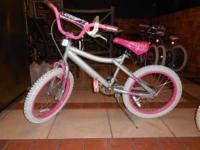 "next misty silver 18"" little girls bike in excellent"