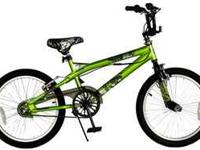 Next Chaos green Freestyle bike. Has small hole in
