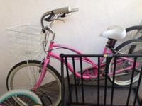 Next to new pink beach cruiser! Comes with lock and two