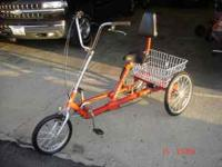 NICE RED ADULT 3 WHEEL BIKE SET DOWN SEAT WITH BACK