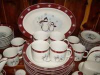 SNOWMAN HOLIDAY DISH SET 42 PIECES JOYFUL TO LOOK AT
