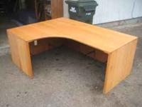 "This is all oak wood corner desk (72"" long by 53 1/2"""