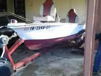 1969 Antique Red & White 17ft boat & Trailer. Selling