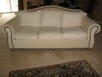White Canvas nailhead couch, purchased at Homestead