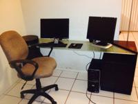 Selling 3 pieces Desk  with 2 drawers, plus Chair,