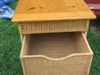 NICE END TABLE, VERY STURDY, PART WOOD PART WICKER,