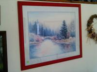 Selling is a nice framed print with a river scene.  I