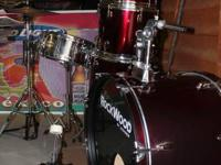 Very Nice, Red Rock Wood by Hohner Drum Set. Includes