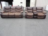 QUITE WONDERFUL BROWNISH NATURAL LEATHER ALL RECLINING