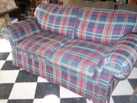 Burgundy, Hunter Green, Navy & Cream Loveseat. Is a